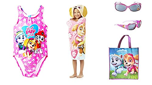 Custom Bundled Products Paw Patrol Skye Best Pup Pals Toddler Girls Swimsuit Sunglasses Tote Bag Plus Hooded Towel (4T) (Pups Towel)