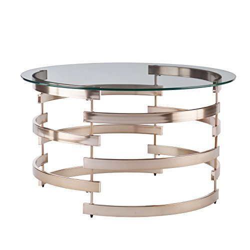 Belmar Cocktail Table - Round Tempered Glass Top w/ Champagne Metal Frame - Glam Style