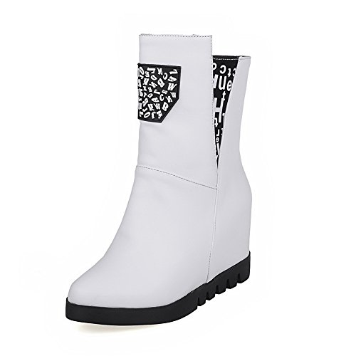 Material Women's top Assorted Zipper Soft AgooLar Heels White Boots High Color Low RIwgfq4x