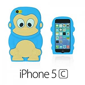 Monkey Style 3D Silicon For Iphone 4/4S Case Cover - Light Blue