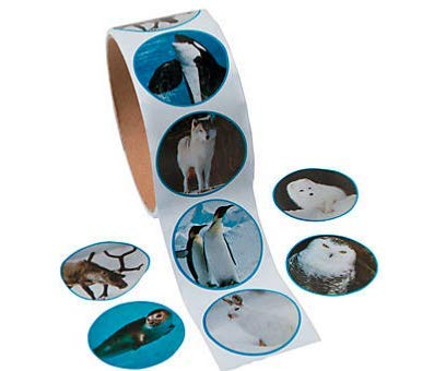 200 ARCTIC Animal Stickers (2 ROLLS of 100 ea) Penguins Snow Owl WHALE Sea Lion Wolf - COLD Weather Creatures KID'S Party FAVORS Classroom DOCTOR DENTIST