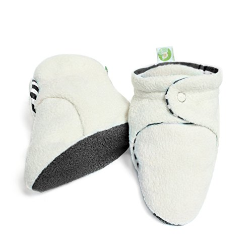 BUM CHICOO Unisex Soft Organic Cotton Baby Booties for New-Born to 18 Months.(6-12 Months, Grey) - Toddler White Combo Footwear