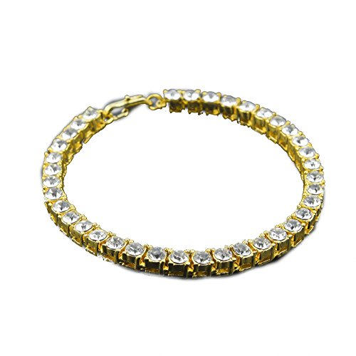 MCSAYS Fashion Jewelry Single One Row Rhinestone CZ Crystal Tennis Chain Bracelet Hip Hop Men's Bling Bling Iced out (Gold)
