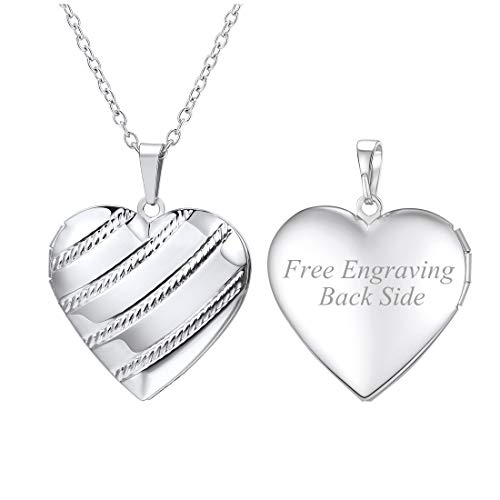 U7 Women Girls Personalized Platinum Plated Chic Stripe Pattern Heart Photo Locket Necklace, Custom Text Engrave Back Side