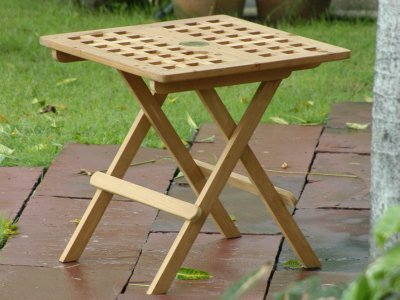 Atlanta Teak Furniture   Teak Folding Side Table With Umbrella Hole