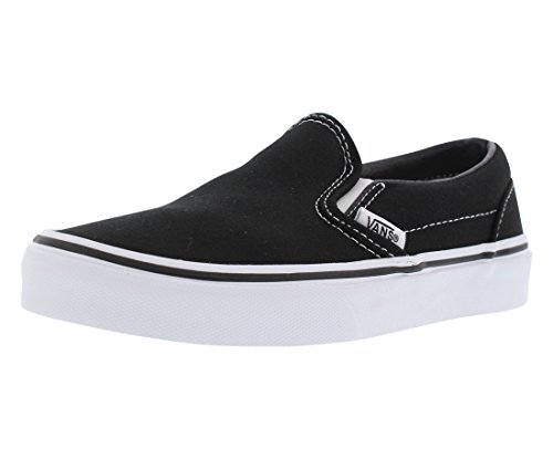 Vans Kids Classic Slip-On (Little Big Kid), Black/True White, 2.5 -