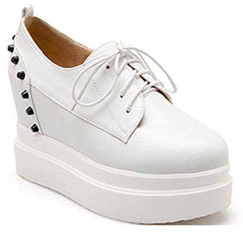 Shoes Heels Studded Wedge Dressy Lace Platform Womens IDIFU Up White Sneakers High Creepers wxBqCF