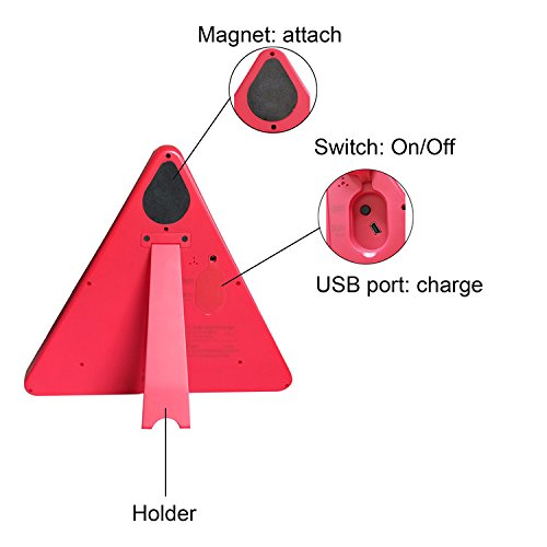 WELLHOME Red Safety Warning Triangular Reflective Kit Triangle Reflector Safety Sign for Car Truck Van Trailers Caravans Lorry Bus etc,9.05 Inch Two Modes - 2 Pack by WELLHOME (Image #3)
