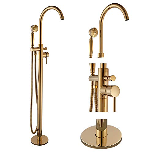 Votamuta Gold Finish Floor Mounted Bathtub Faucet Single Handle Bathroom Tub Filler Shower Faucet with Hand Sprayer