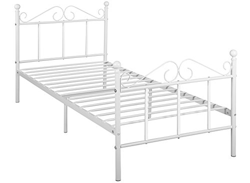 - GreenForest Metal Bed Frame Twin Size with Headboard and Footboard Metal Slats Support Platform Mattress Foundation
