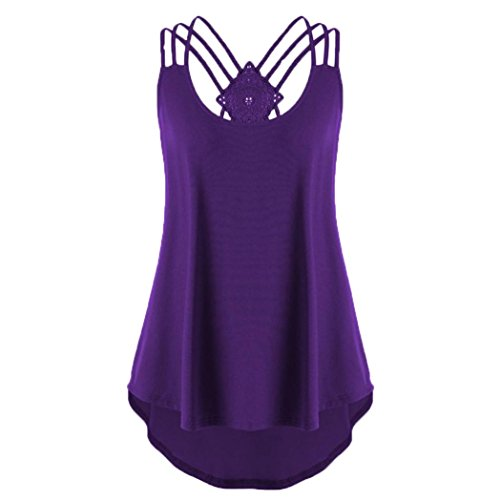 Women Summer Clothes Clearance,Hongxin Summer Sexy Ladies' Bandages Sleeveless Vest Top Strappy Tank Tops Cami Female Vest Ladies Clothing Irregular Dress (Purple, (Silhouette Mini Button)