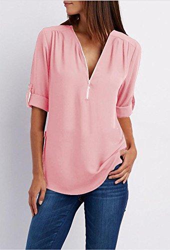 Moda Sexy Pink Maniche OL Bluse 4 Donna Estate Scollo Chiffon V Primavera 3 Casual Elegante Camicia Maglia Minetom Tops Shirt 7pHwUxqSgW