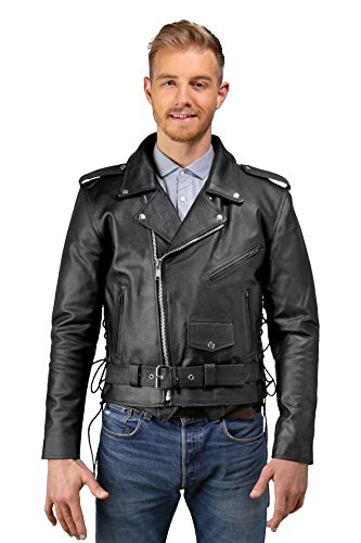 Mens Leather Motorcycle Jacket, Side Lace, Zip-Out Lining, Pockets Inside & Outside, High Performance Biker Jacket, Genuine Cowhide Leather (Black, 42)