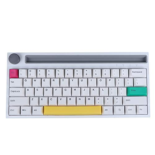 EPOMAKER Ajazz K620T 60% RGB Bluetooth Wireless Wired Mechanical Keyboard with 4400mAh Battery, PBT Keycaps, Wheel Volume Button for MacOS/Windows/iOS/Android (Ajazz Pink Switch, White)