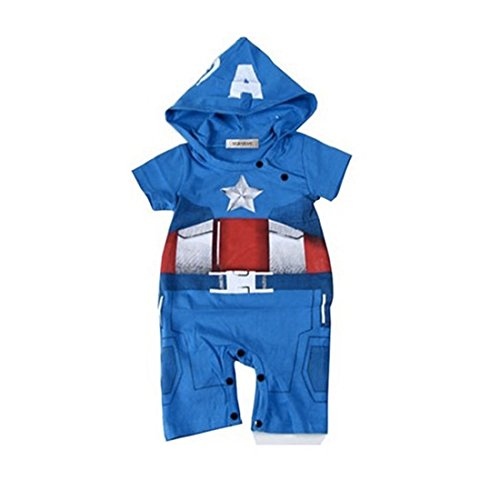 Toddler Captain America Costumes Hoodie (Newborn Baby Boys Captain America IronMan Hoodie Costume Jumpsuit Bodysuit (95(18-24 months), Blue))