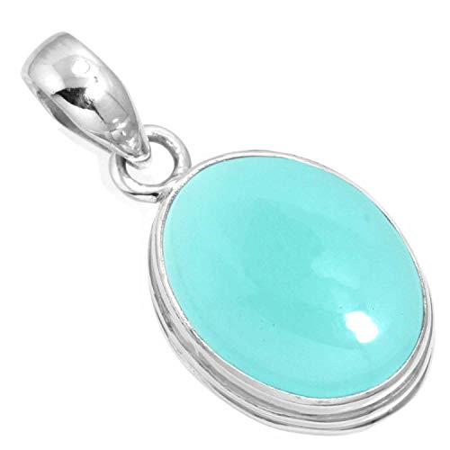 Natural Aqua Chalcedony Pendant 925 Sterling Silver Handmade Jewelry