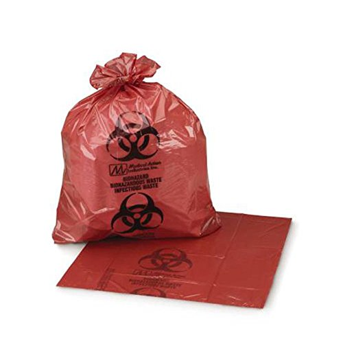 Medegen Medical Products 50-40 Red/Black LLDPE Biohazardous Waste Bags, 1 gal to 3 gal Capacity, 11'' x 14'' (Pack of 500)