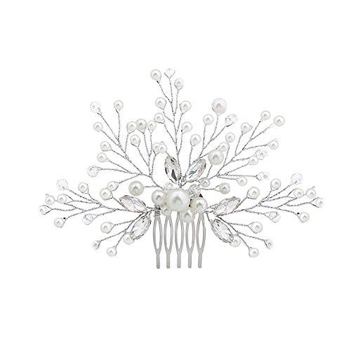 bromrefulgenc Elegant Pretty Hair Pin,Wedding Bridal Bridesmaid Faux Pearls Hair Pins Clips Rhinestone Comb Headwear - Silver