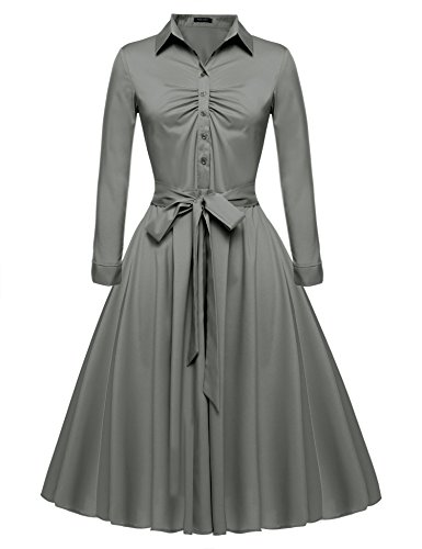 Dress Gray Belted (Beyove Women's V Neck Elegant Belted Vintage 1950's Casual Evening Dress Gray XL)