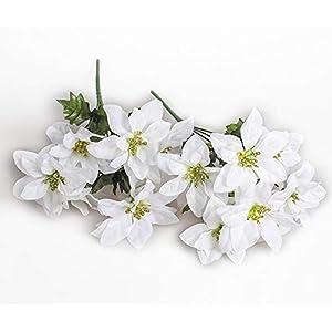 MangoRun 7 Heads Artificial Poinsettia Bush Flowers Christmas Flowers Bouquet Decorations,Pack of 2 (White) 36