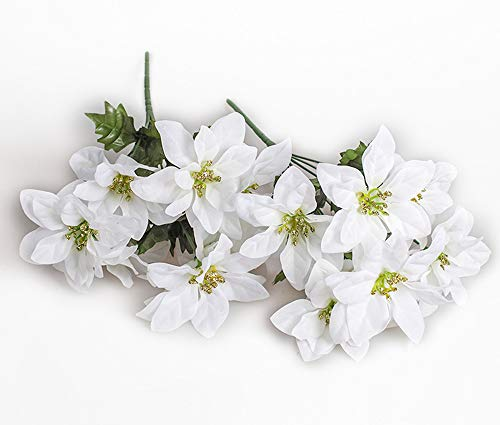 MangoRun 7 Heads Artificial Poinsettia Bush Flowers Christmas Flowers Bouquet Decorations,Pack of 2 (White)