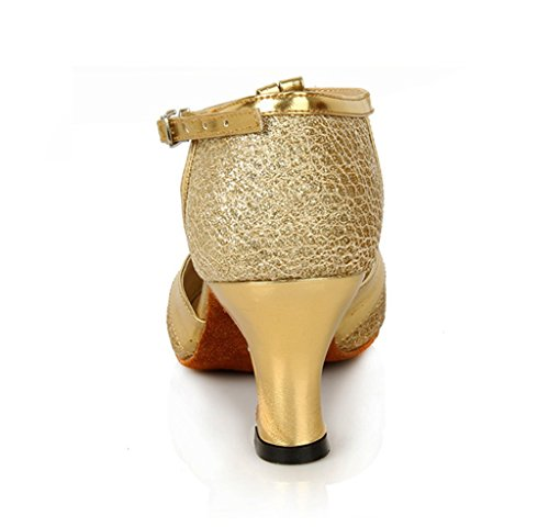 Latin Salsa Glitter Tango Women's Shoes Gold Dance T Samba Doris Ballroom Shoes Strap Dress Close Toe nXagxptT