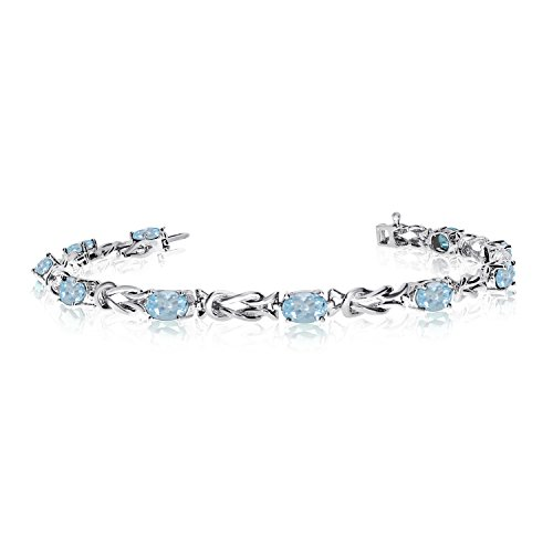 14K White Gold Oval Aquamarine Reef Knot Bracelet (8 Inch ()