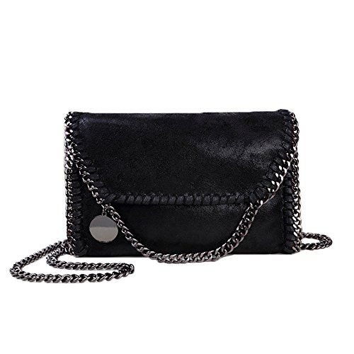 (Women Chain Bag Fashion PU Leather Crossbody Bag Shoulder Bags Ladies Clutch Handbag (Black))