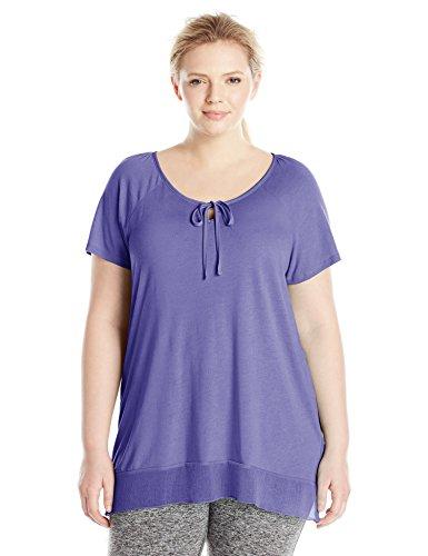 Just My Size Women's Plus-Size Chiffon Trim Tunic, Petal Purple, 2X