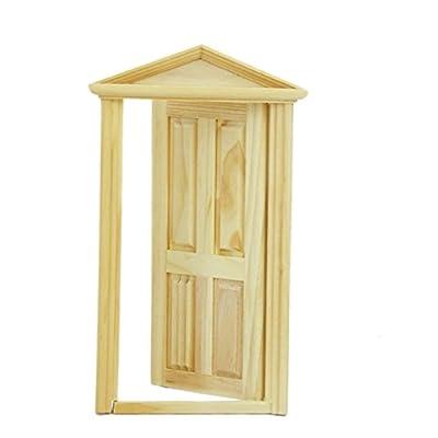 SanWay 1/12 Dollhouse Miniature Exterior Inward-Open Wood Door with Steepletop