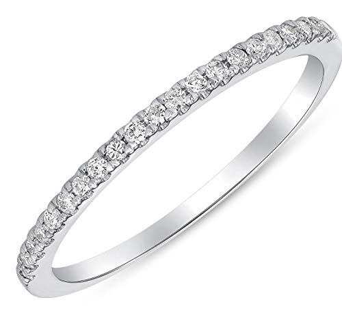 (Beverly Hills Jewelers 0.11 Carat (ctw) 10K White Gold Round Brilliant Cut Diamond Ladies Band Stackable (6))