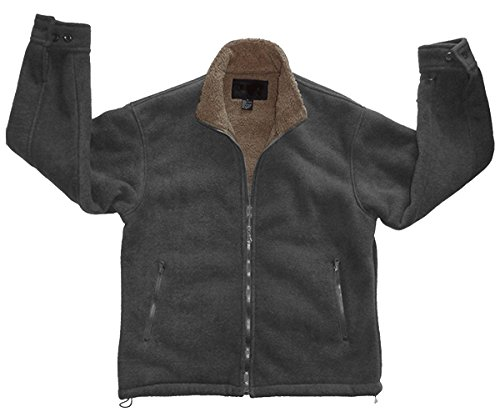 Lined Polar Fleece (Woodland Supply Co. Men's Polar Fleece Sherpa Lined Zip Up Jacket,X-Large,Charcoal/Taupe)