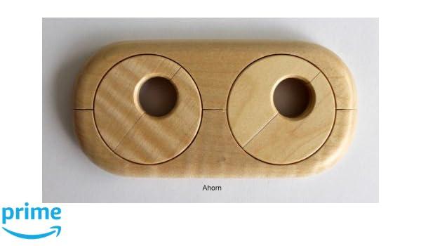 Doble roseta para calefacción de tubos, distancia de los tubos variable, madera real: arce, haya, roble, cerezo, nogal, caoba, cubierta para tubos de ...