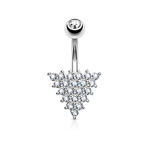 Inspiration Dezigns 14G CZ Triangle Steel Belly Button Navel Rings Barbell Stud