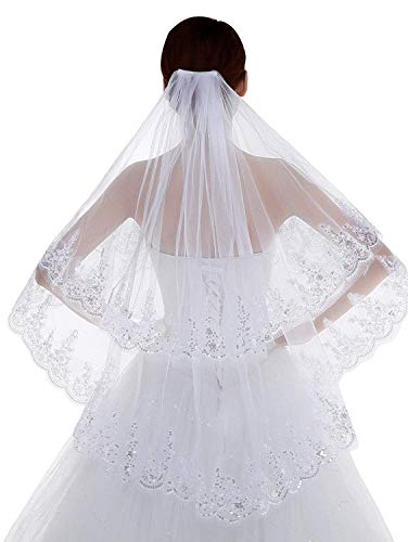 Graceprom 2 Tier Lace Sequins Edge Fingertip Length Bridal Wedding Veils (Sequined white)