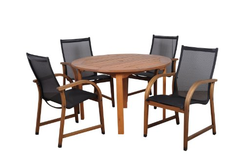 Amazonia Bahamas 5-Piece Eucalyptus Round Dining Set (8 Miami Set Patio Piece)