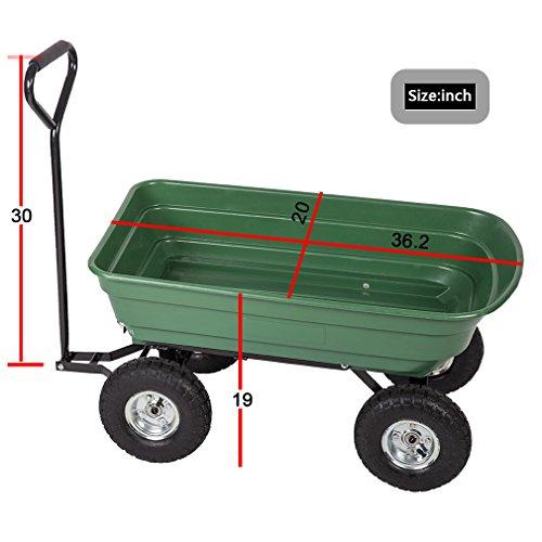 BestMassage Garden Cart Patio Outdoor Heavy Duty Poly Garden Utility Yard Dump Cart Garden Cart Wheel Barrow by BestMassage (Image #2)