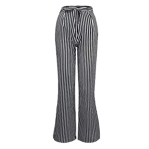 Women 's Trousers LuluZanm Summer Fashion Pants High Waist Stripe Pants Ladies Zipper Long Loose Pants with Lace Up Black