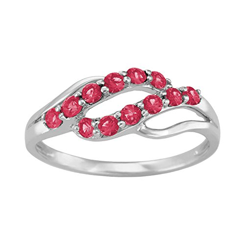 ArtCarved Iridescent Simulated Ruby July Birthstone Ring, 10K White Gold, Size 7 ()