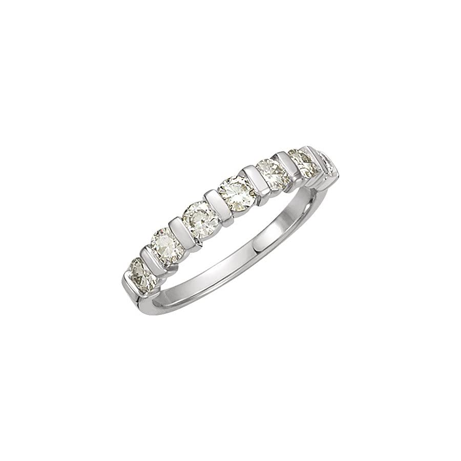 0.65 ct Ladies Round Cut Diamond 7 Stone Wedding Band in Platinum