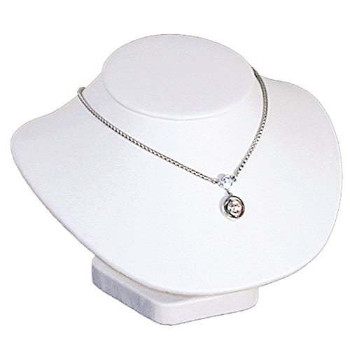 White Leather Necklace Display Jewelry Bust 5