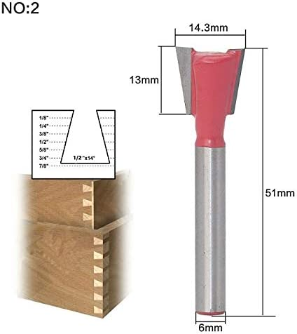 ZZB-ZT, 1pc 6mm Schaft 3/8 X 14 Schwalbenschwanz Fräser Holz Fräser for die Holzbearbeitung Cutter Power Tools (Size : NO 1)