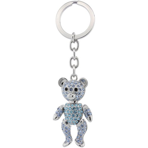 - Movable Teddy Bear Key Chain, Key Ring, Key Holder, Key Tag , Key Fob, w/ Brilliant Cut Blue Topaz-Color Swarovski Crystals, 4-1/2