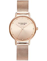 VICTORIA HYDE Luxury Womens Quartz Watches Rose Gold Stainless Steel Bracelets Replaceable Mesh Band