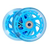 AOWISH 2-Pack 100mm Light Up Scooter Wheels, LED Flash Replacement Wheels with Bearings ABEC-7 for Razor Scooters