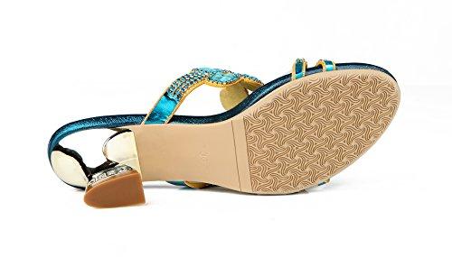 Honeystore Neuheiten Frauen Lackleder Quadrat Absatz Sandalen Blumen Pantoffel mit Strass Schuhe Blau