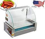 Commercial 18 Hot Dog Hotdog 7 Roller Grill Cooker Machine With Cover 1050W