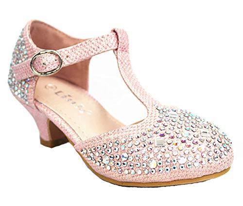 Link SF Riley-79K Girls Youth Pageant Jewel Rhine Stone Mary Jane High Heel Dress Shoes (12 M US, Pink-12k) (Girls Pink Pageant Shoes)
