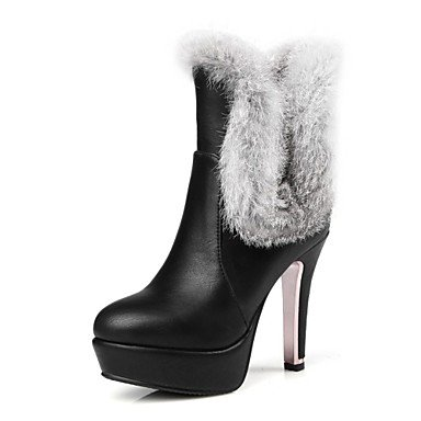 RTRY Women'S Shoes Leatherette Winter Fashion Boots Boots Stiletto Heel Round Toe Mid-Calf Boots For Wedding Casual Red Black White US3.5 / EU33 / UK1.5 / CN32