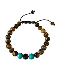 Tibetan Mala Tiger Eye Wrist Mala/bracelet for Meditation (Turquoise with onyx)